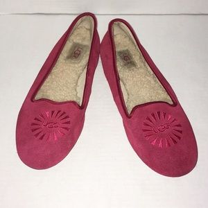 UGG Shoes Red Flats Cozy Slip On Loafers